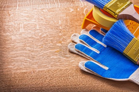 Gloves duct tape paint tray and brushes