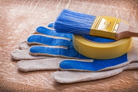 Safety gloves with paint brush