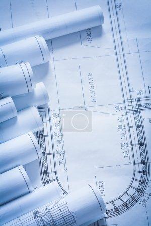 Photo pour Stack of construction sketches, architecture and building concept - image libre de droit