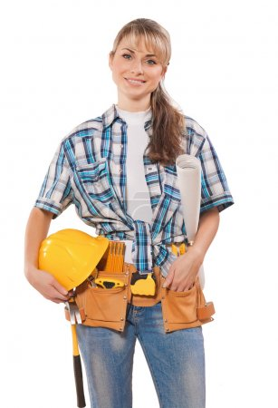 Woman in working clothes with tools