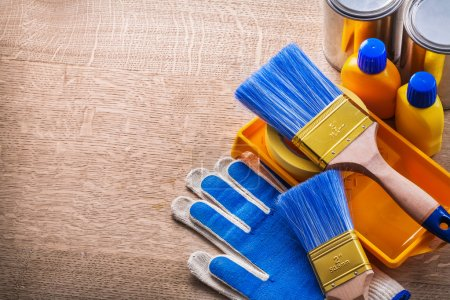 painting tools on wooden table