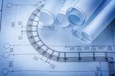 Rolls of construction plans