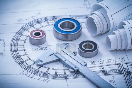 Construction plans, caliper, roller bearings