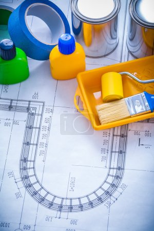 Blueprint with paint brush, tray, roller