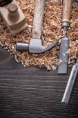 Claw hammer, chisels, planning chips