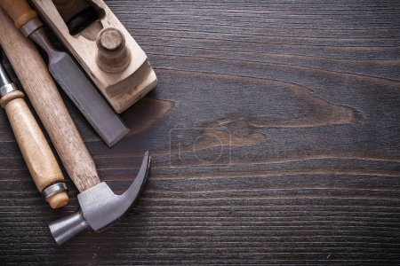 claw hammer, wooden shaving plane