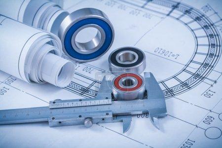 construction plans, bearings and slide caliper