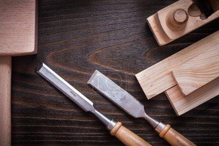 Lump hammer, shaving plane, chisels