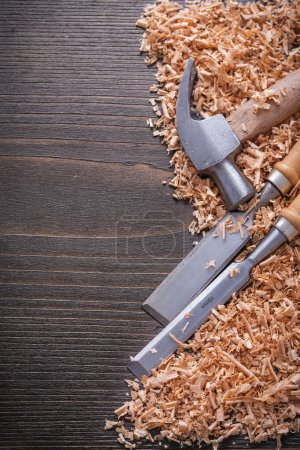 Claw hammer and metal flat chisels