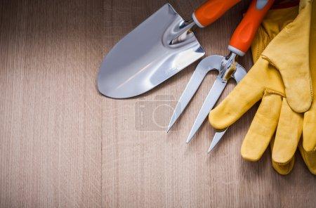 safety gloves, trowel fork and spade