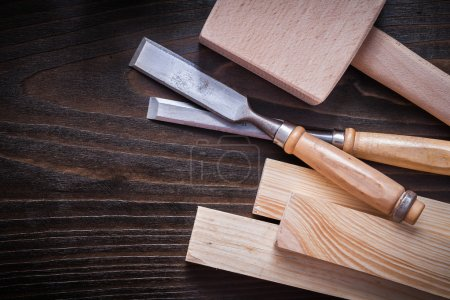 Mallet firmer, chisels and wooden planks