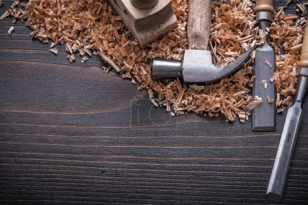 Claw hammer and flat chisels wooden planer