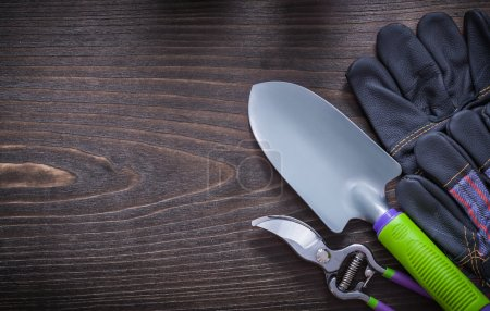 gloves, hand spade and pruning shears