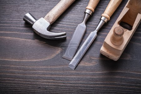 hammer, shaving plane and flat chisels