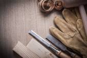 Mallet, firmer chisels, leather gloves