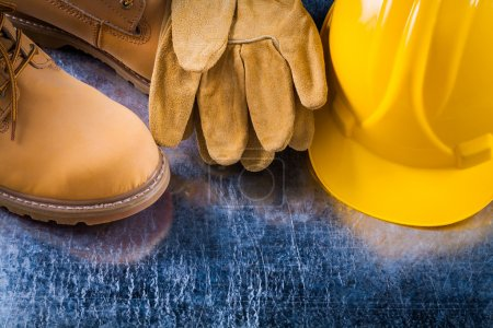 boots, protective gloves and hard hat