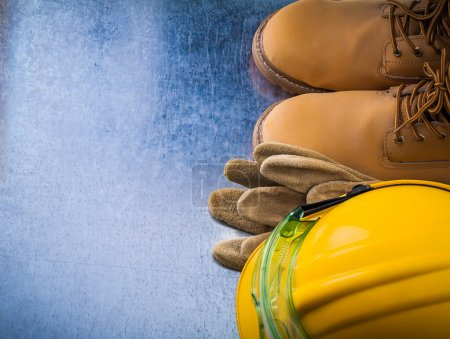 Protective gloves, boots, hard hat