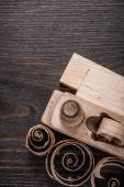 Wooden planer, planks and planing chips