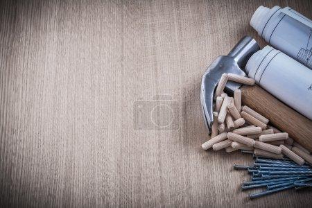 Blueprints, hammer, dowels, nails