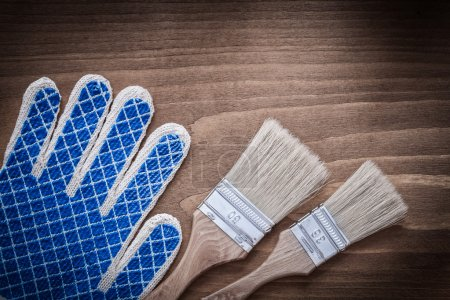 Paintbrushes and protective glove