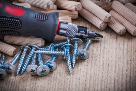 Photo for Stack of wooden dowels, pins steel nails and insulated turnscrew. - Royalty Free Image