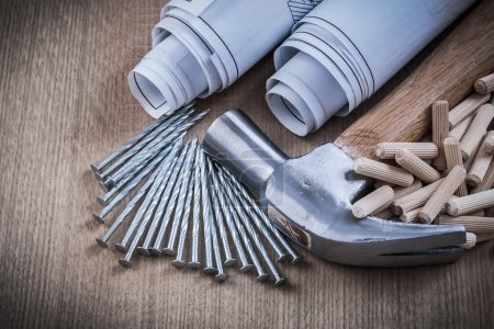 blueprints hammer woodworking dowels and nails