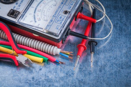 Set of electricity tools close up