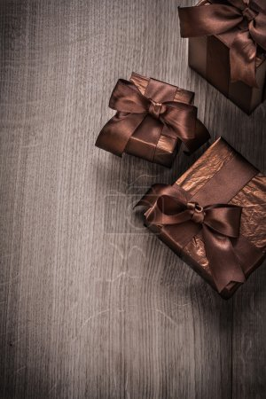 Present boxes wrapped in glittery paper