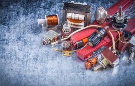 Photo for Set of electric devices top view image vintage electricity concept - Royalty Free Image