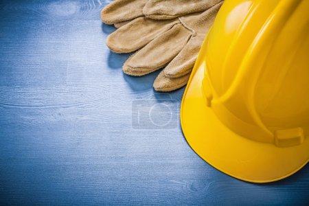 gloves and building helmet