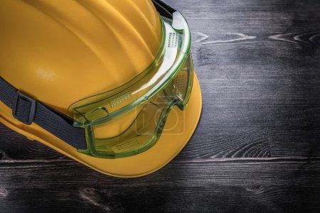 Building helmet on wood