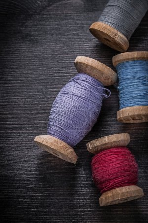 Spools of colored threads