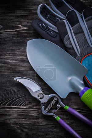 Protective gloves, garden pruner and spade