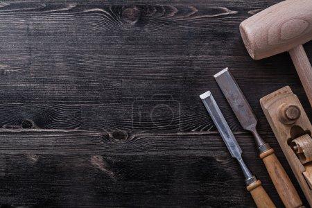Flat chisels, hammer, shaving plane
