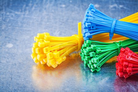 Multicolored plastic zip cable ties