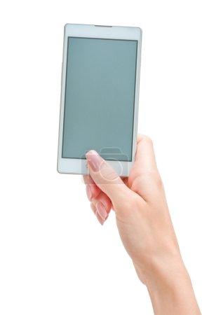 Hand holding big smart phone