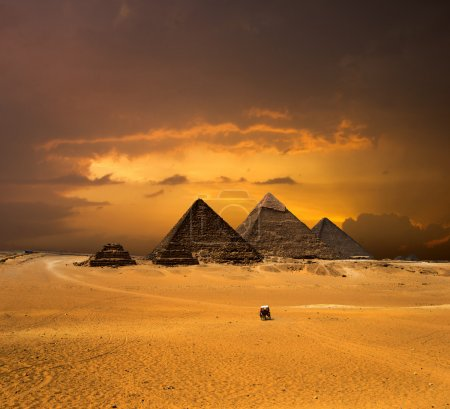 pyramids with a beautiful sky of Giza