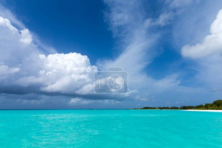 Photo for Tropical Maldives island with white sandy beach and sea - Royalty Free Image