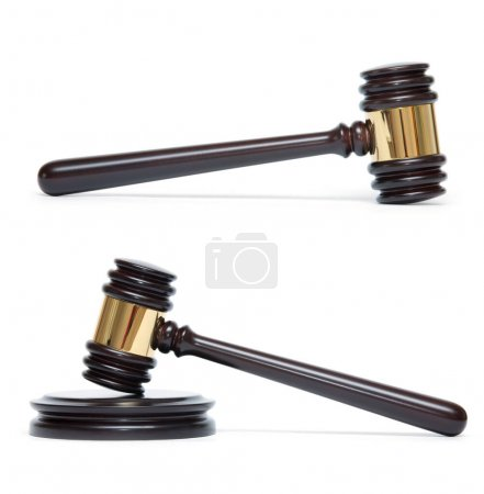 Photo for A wooden judge gavel and soundboard isolated on white background - Royalty Free Image