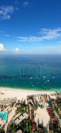 Photo for Tropical Sea. Amazing bird eyes view in Zanzibar - Royalty Free Image