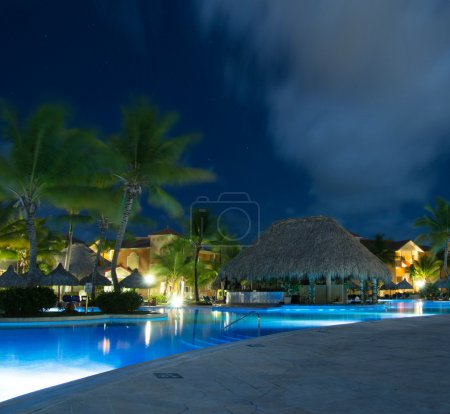 Photo for Swimming pool in night illumination - Royalty Free Image