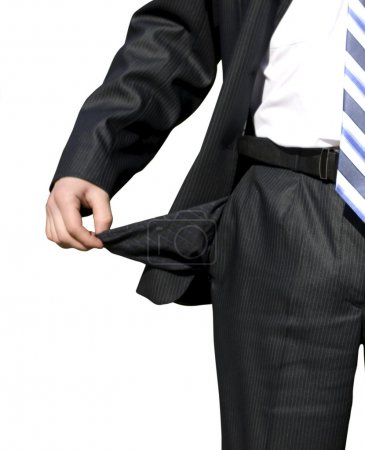 Businessman with empty pocket