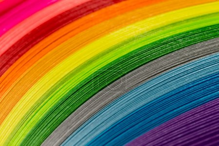 Paper strips in rainbow colors