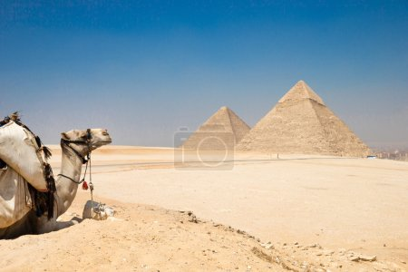 Pyramids with a beautiful sky of Giza in Cairo, Eg...