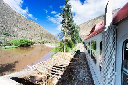 Photo pour Train allant à Machu Picchu de Cuzco par temps ensoleillé - image libre de droit