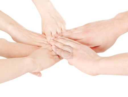 Männliche und weibliche vereinte Hände