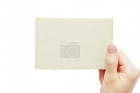 Photo for Female Hand hold blank business card - Royalty Free Image