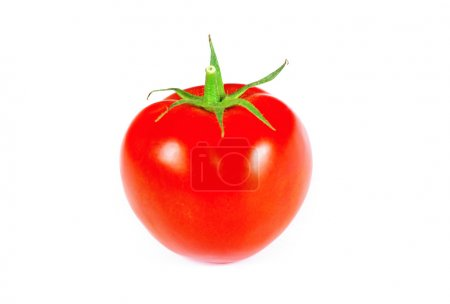 ripe tomato with green leaves