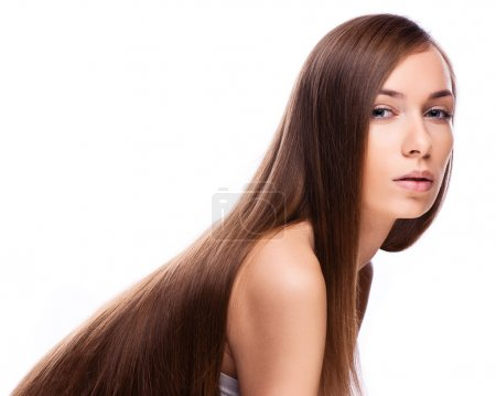 Hair. Beauty Fashion Model Woman touching her Long and Healthy B
