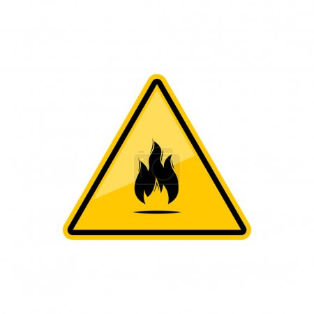 Fire warning sign in yellow triangle isolated icon. Vector flammable or inflammable substance or material icon, black flame pictogram in triangular sticker. Hazard danger flammable precaution sign